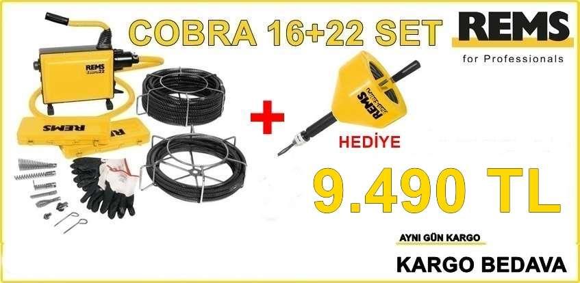 Rems Cobra Set 16+22 Kanal & Boru temizleme-açma makinası