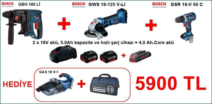 Bosch 3 lü Kampanya GBH 180-LI +GWS 18-125 V-LI+GSR 18V-60 C
