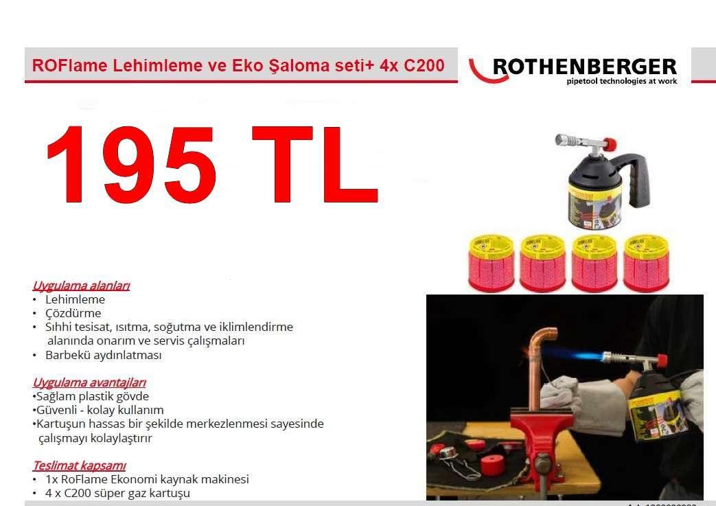 Rothenberger roflame Lahimleme  ve eko şaloma seti + 4 X  c200 kartuş