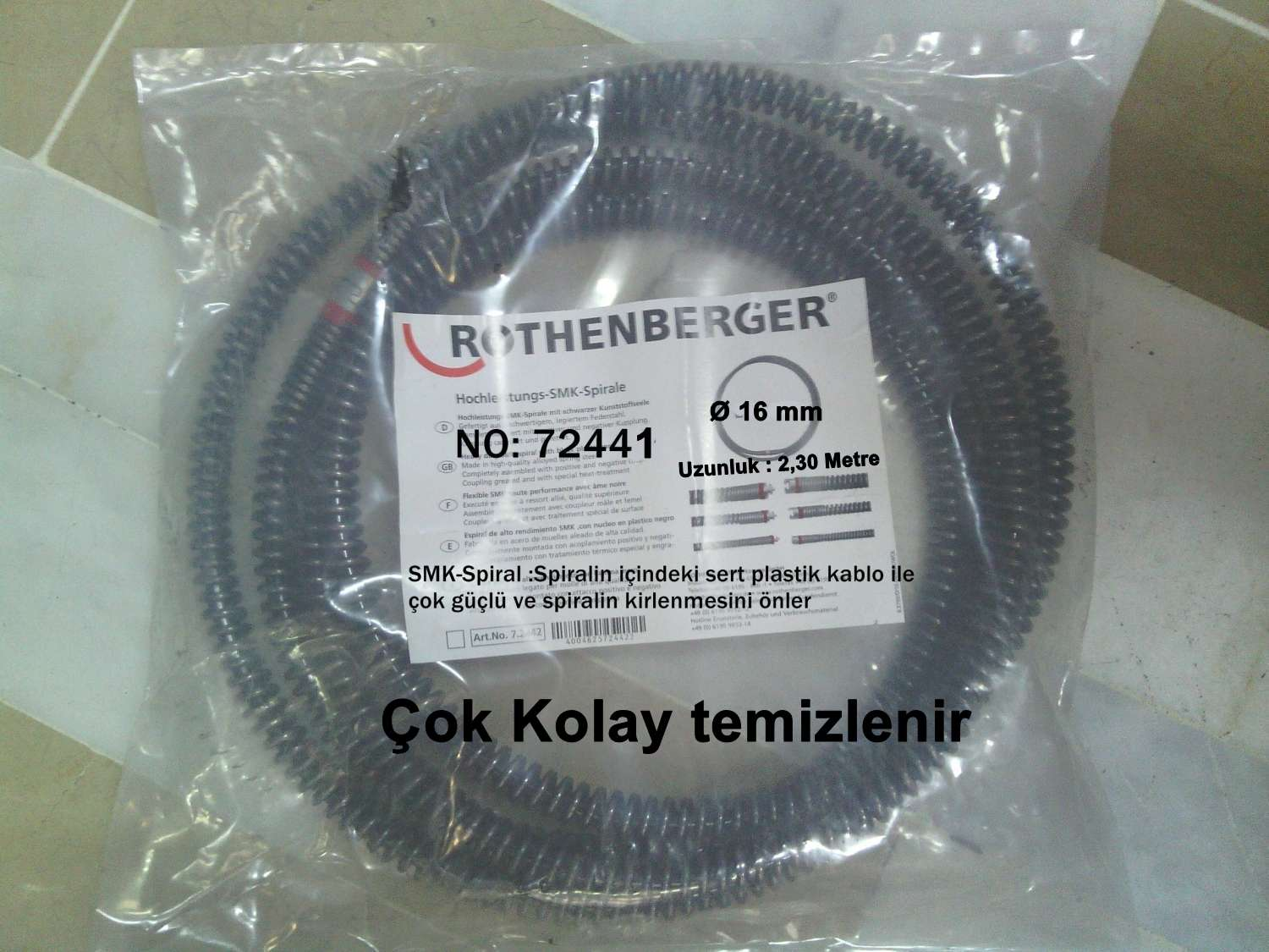 ROTHENBERGER 72433 KANAL AÇMA SPİRALİ (Ø 16 MM-SMK