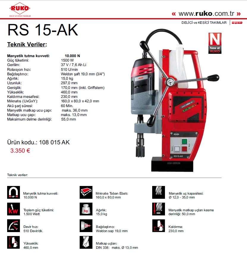 RUKO RS 15-AK Akülü Manyetik MAtkap