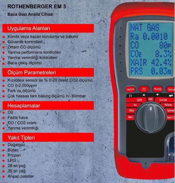 ROTEST EM5 IR Baca gazı analiz cihazı