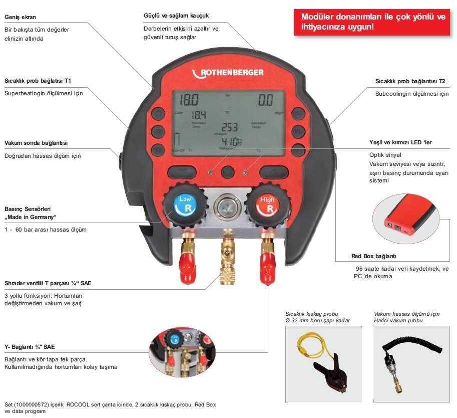 ROCOOL 600 dijital manifolt (Set Plastik çanta ve 2 adet sıcaklık kıskaç prob)